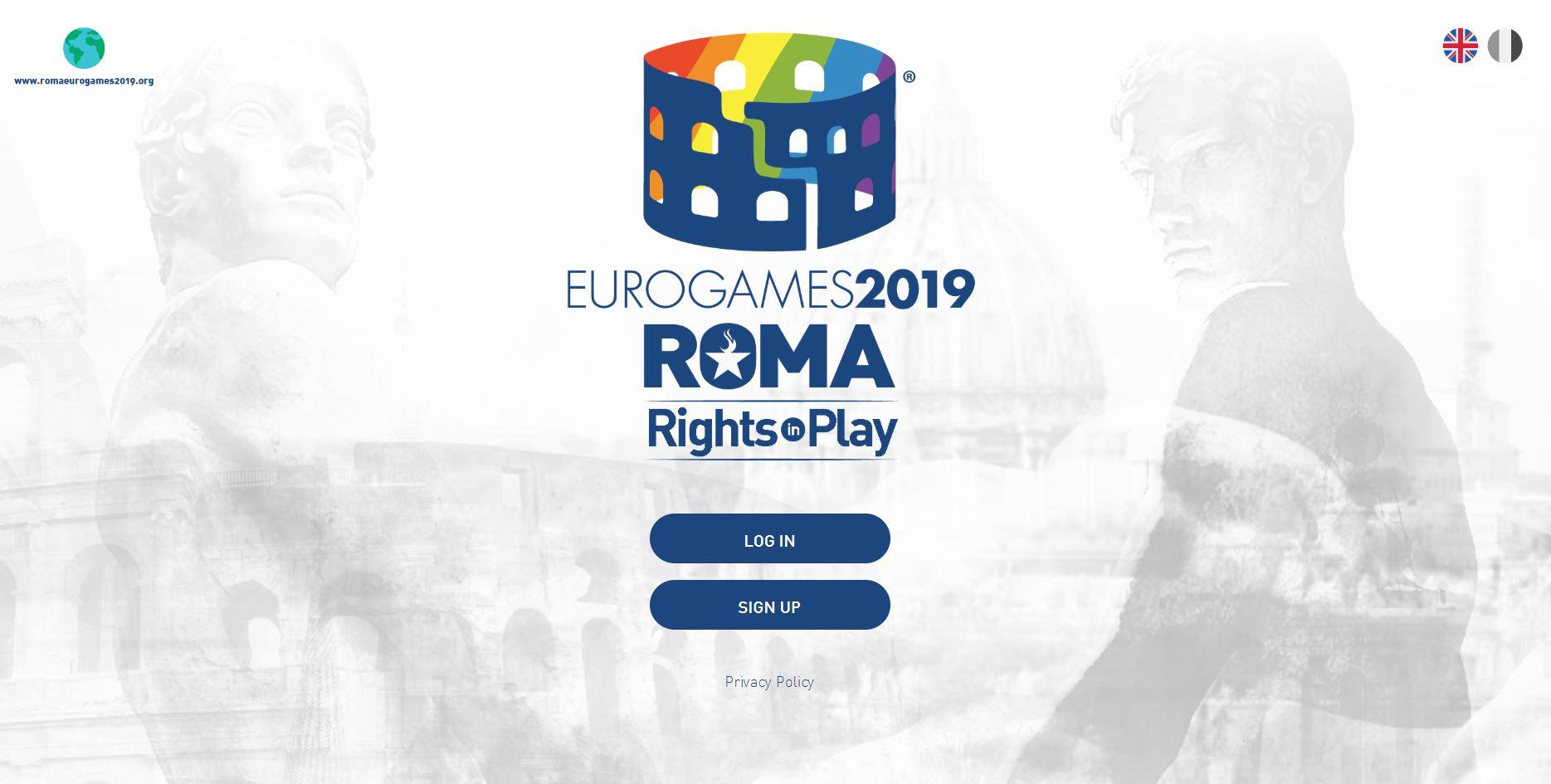 Registrierungsseite der EuroGames 2019 Rom